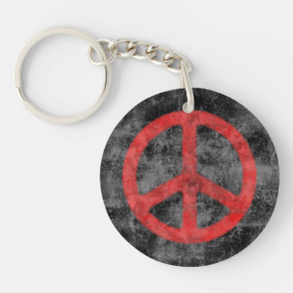 Distressed Peace Sign Key Ring