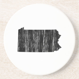 Distressed Pennsylvania State Outline Beverage Coasters