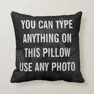Distressed Personalised Black Photo Cushion