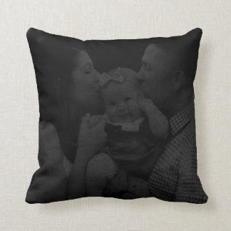 Distressed Personalized Black Photo Cushion