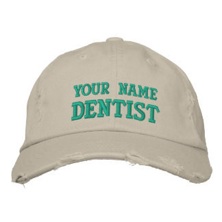 Distressed personalized Dentist Cap
