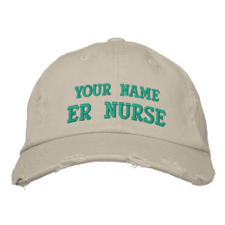 Distressed personalized ER Nurse Cap Embroidered Hat