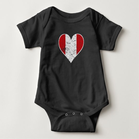 Distressed Peruvian Flag Heart Baby Bodysuit