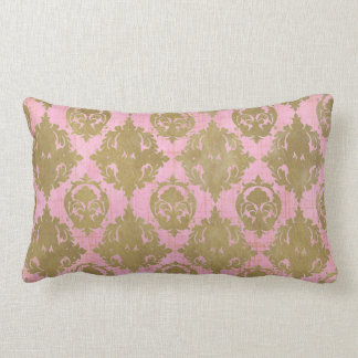 Distressed Pink and Gold Throw Pillow
