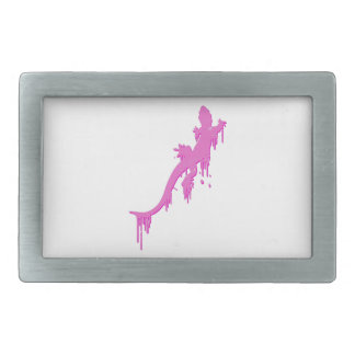 Distressed Pink Salamander With Paint Drip Belt Buckle