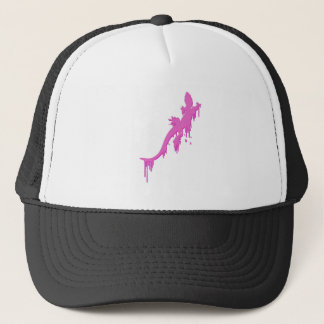 Distressed Pink Salamander With Paint Drip Trucker Hat