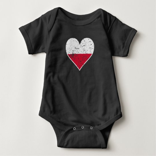 Distressed Polish Flag Heart Baby Bodysuit