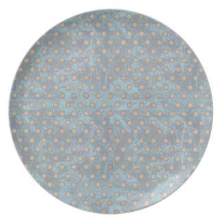 Distressed Polka Dot Pattern in Blue and Beige Dinner Plates