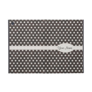 Distressed Polka Dot Pattern in Charcoal & White Covers For iPad Mini