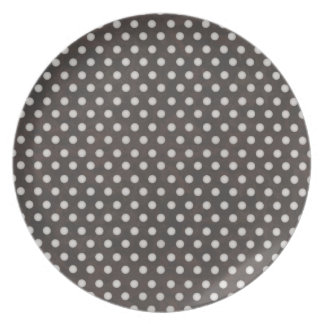 Distressed Polka Dot Pattern in Charcoal & White Party Plates