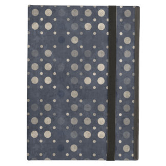 Distressed Polka Dot Pattern in Dark Blue & Beige Case For iPad Air
