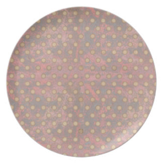 Distressed Polka Dot Pattern in Pink and Beige Dinner Plate