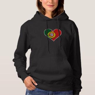 Distressed Portuguese Flag Heart Hoodie