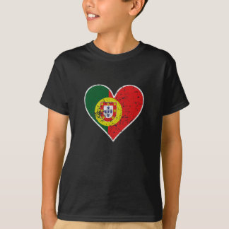 Distressed Portuguese Flag Heart T-Shirt