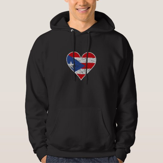 Distressed Puerto Rican Flag Heart Hoodie