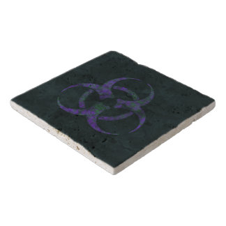 Distressed Purple Biohazard Symbol Trivet
