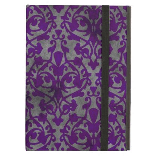 Distressed purple damask design iPad air case