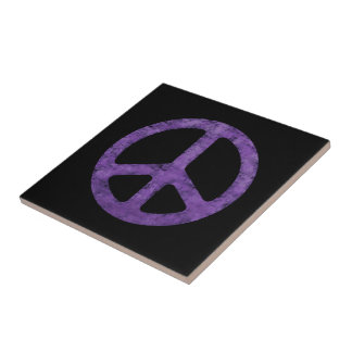 Distressed Purple Peace Sign Tile