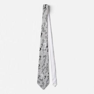 Distressed Question Mark Tie- White, Black, Silver Tie