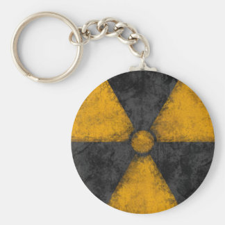 Distressed Radiation Symbol Basic Round Button Key Ring