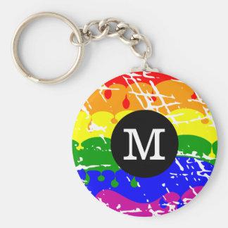 Distressed Rainbow dripping Monogram Basic Round Button Key Ring