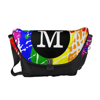 Distressed Rainbow dripping Monogram Courier Bag
