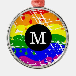 Distressed Rainbow dripping Monogram Ornament