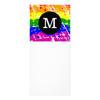 Distressed Rainbow dripping Monogram Rack Card
