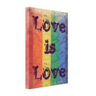 Distressed Rainbow LGBT Flag Love is Love Wall Art