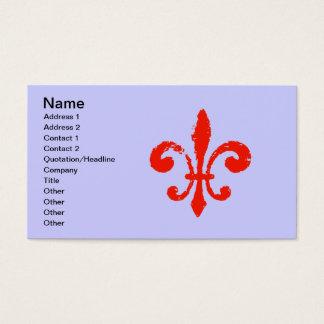 Distressed Red Fleur De Lis, Business Card
