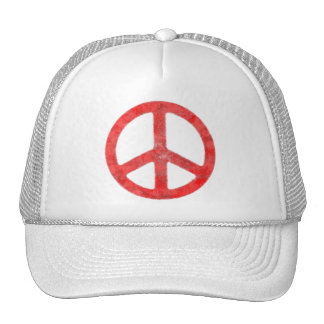 Distressed Red Peace Sign Cap