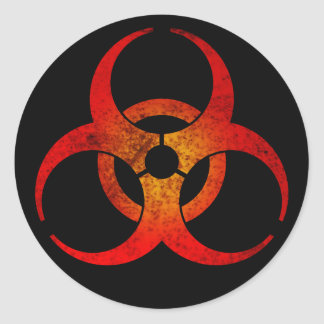Distressed Red & Yellow Biohazard Symbol on Black Classic Round Sticker