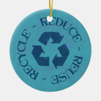 Distressed Reduce Reuse Recycle Ornament (blue)