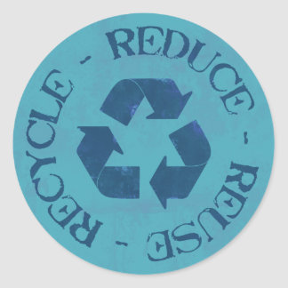 Distressed Reduce Reuse Recycle Sticker (blue)