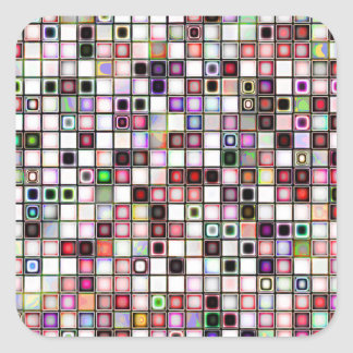 Distressed Retro Jewel Tones Mosaic Tiles Pattern Square Sticker