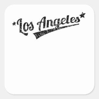 Distressed Retro Los Angeles Logo Square Sticker