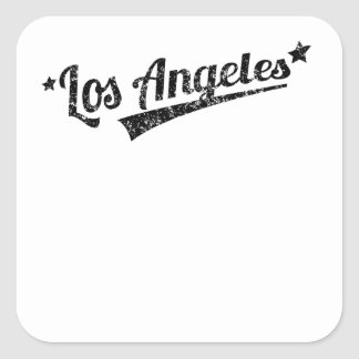 Distressed Retro Los Angeles Logo Square Stickers