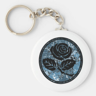 Distressed Rose Silhouette Cameo - Blue Basic Round Button Key Ring