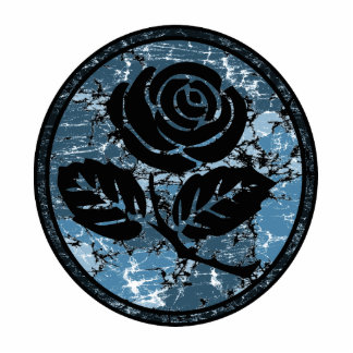 Distressed Rose Silhouette Cameo - Blue Photo Sculpture Decoration