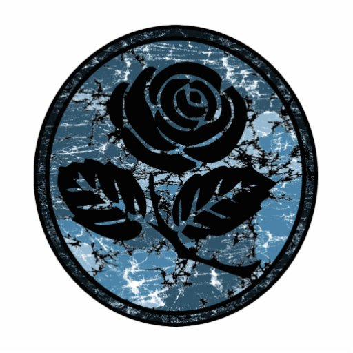 Distressed Rose Silhouette Cameo - Blue Photo Cut Outs