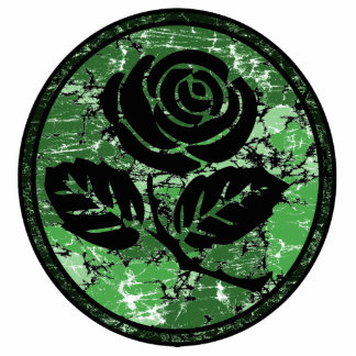 Distressed Rose Silhouette Cameo - Green Standing Photo Sculpture
