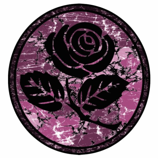 Distressed Rose Silhouette Cameo - Pink Photo Cut Out