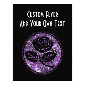 Distressed Rose Silhouette Cameo - Purple 21.5 Cm X 28 Cm Flyer