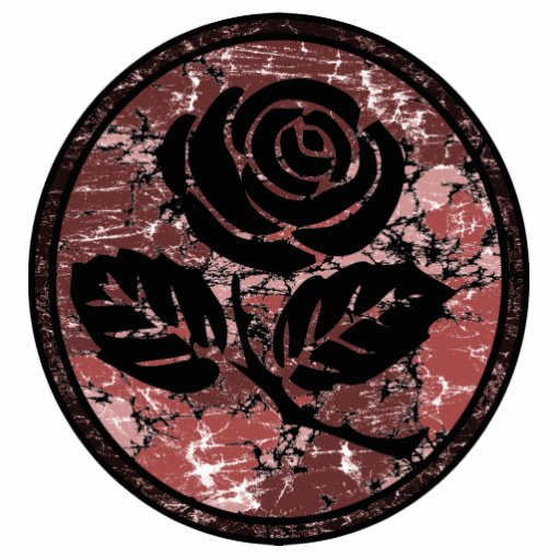 Distressed Rose Silhouette Cameo - Red Cut Outs