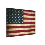 Distressed Rustic American 50 Star Flag Print Stretched Canvas Prints