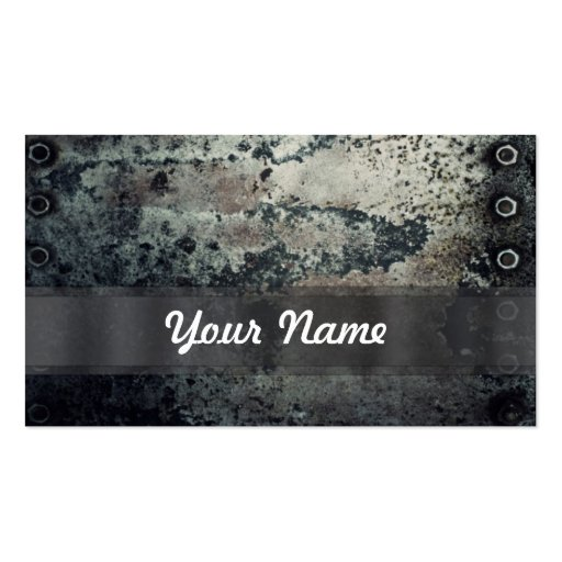 Distressed rusty metal business card template