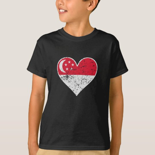 Distressed Singaporean Flag Heart T-Shirt