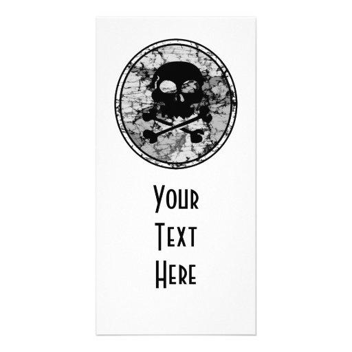 Distressed Skull & Crossbones Silhouette B&W Photo Cards