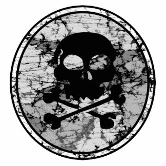Distressed Skull & Crossbones Silhouette B&W Standing Photo Sculpture