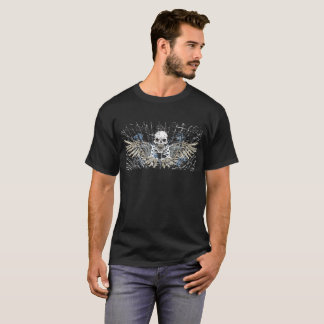 Distressed Skull Guns Wings Halloween T-shirt